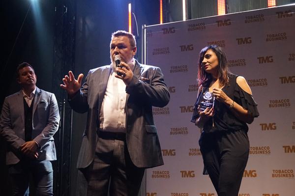 Jeff Borysiewicz accepts the award for Corona Cigar Co. at Tobacco Business Awards