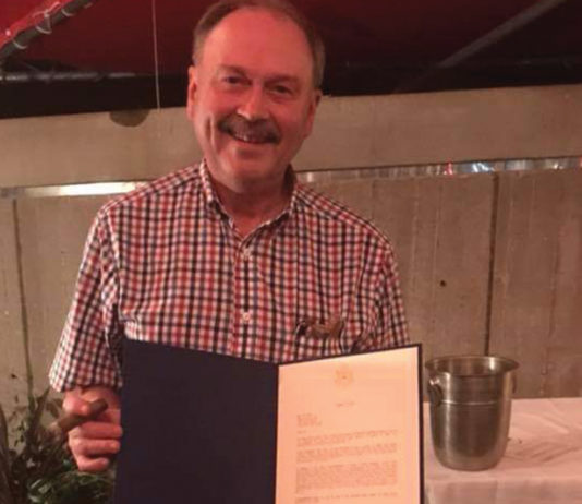 Jim Clark with a congratulatory letter from his local Congressman Steve Chabot