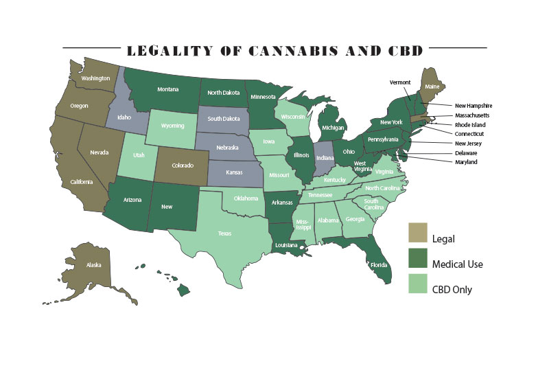 MAP Legality of Cannabis and CBD in the USA - Pyxus PYX