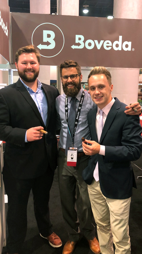 "(Left to right) Ramsey Cronen, Rob Gagner and Luke Chase, the team behind Boveda's ""Box Press"" podcast"