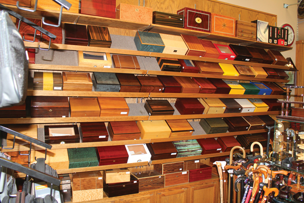 The Briar & The Burley's cigar and pipe selections are augmented by smoking accessories, fine luggage and racing memorabilia. The result is an eclectic mix of items that have expanded the store's customer base.